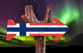 stock photo of tromso  - Norway Flag wooden sign with northern lights background - JPG