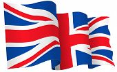 foto of waving  - UK British flag waving  - JPG