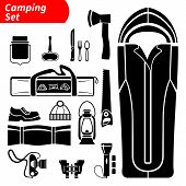 picture of boot camp  - Silhouette camping black and white isolated vector icons set - JPG