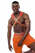 image of samba  - Half length shot of male samba dancer - JPG