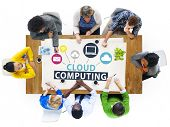 image of clouds  - Cloud Computing Network Online Internet Storage Concept - JPG