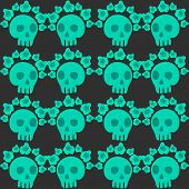 stock photo of day dead skull  - seamless pattern with skulls and roses - JPG