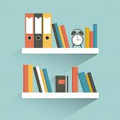 stock photo of book-shelf  - White Book Shelf with book - JPG