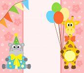 foto of hippopotamus  - Happy holiday background with funny hippopotamus and giraffe - JPG