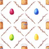 stock photo of willow  - Easter cake eggs and willow twigs painted in watercolor - JPG