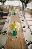 picture of banquet  - Banquet wedding table setting on evening reception - JPG