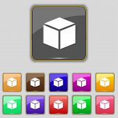 stock photo of cube  - 3d cube icon sign - JPG