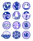 image of seer  - Symbols showing different methods of clairvoyant psychic fortune telling in blue and purple - JPG