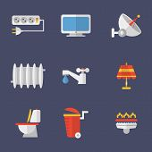 stock photo of electricity  - Set of icons electricity - JPG