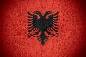pic of albania  - flag of Albania or Albanian banner on rough pattern texture - JPG