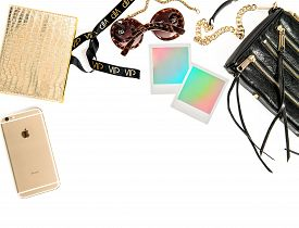 stock photo of polaroid  - Fashion mockup with business lady accessories and polaroid photo frames - JPG