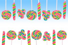 image of lolli  - Fantasy sweet candy land with lollies on blue background - JPG