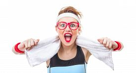 image of screaming  - Surprised funny fitness woman ready for gym sport girl screaming - JPG