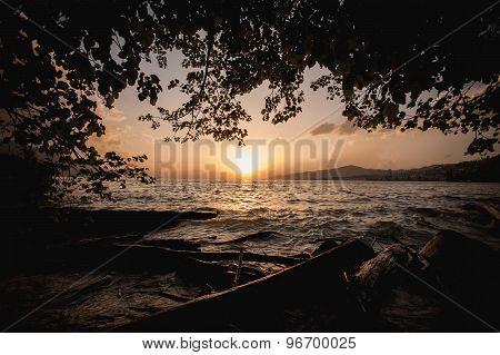 Beautiful Sunset On The Lake Geneva In Switzerland