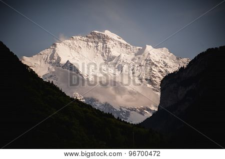 View On Snowy Mountain In Summer