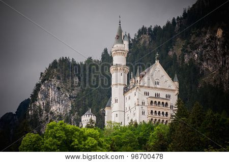 Neuschwanstein, Lovely Autumn Landscape Panorama Picture Of The Fairy Tale Castle Near Munich In Bav