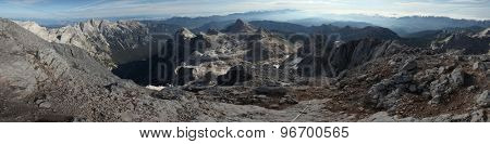 Panorama from the summit of Mount Triglav (2,864 m) in the Julian Alps, Slovenia.