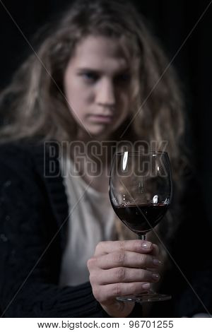Portrait Of Alcoholic Woman