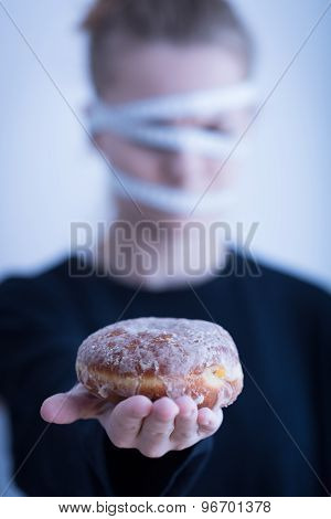 Anorectic Girl And Doughnut