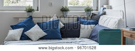 Single Bed With Decorative Cushions