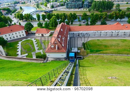 Climb Of Funicular To Castle Mountain (mount Gediminas), Vilnius, Lithuania