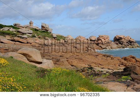 Brittany, Pink Granit Rocks In Ploumanac H