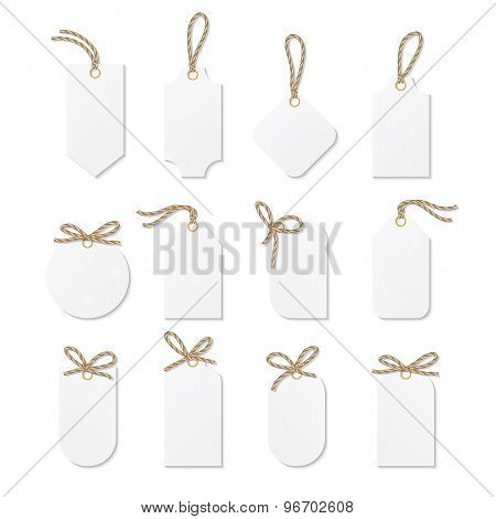 Tags and labels with rope bows ribbons