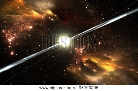 Space background with Pulsar and nebula