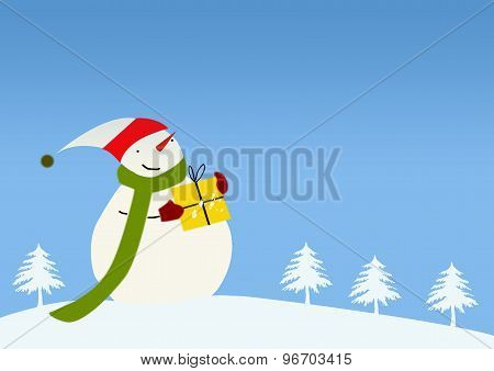 Winter Landscape With Jolly Snowman