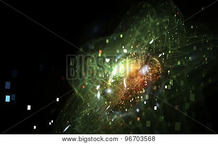 Image Of Colorful Light And Abstract Shapes Over Black Background
