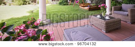 Designed Porch With Garden Furniture