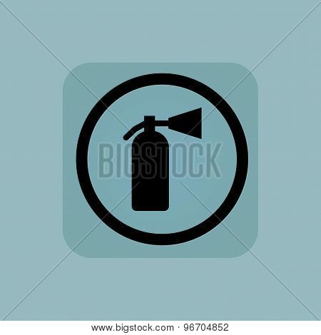 Pale blue fire extinguisher sign