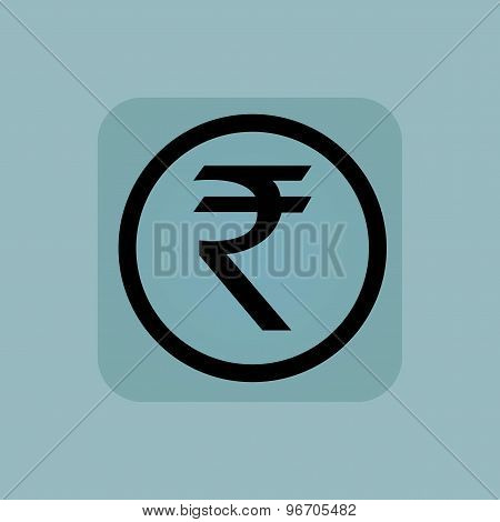Pale blue rupee sign