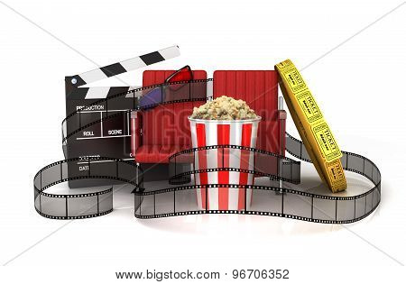 Cinema Clapper Board, Popcorn, 3D Glasses, Theater Seat And Tickets Wrapped Film Strip.
