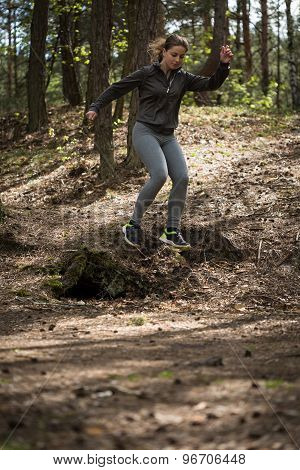 Woman Practicing Trail Running