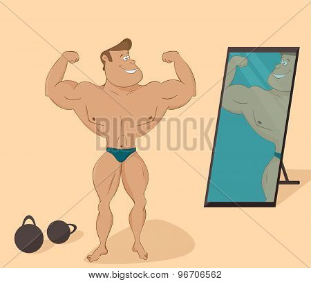 flat muscular sports man in the mirror. Cartoon character.