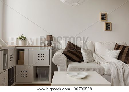 White Sofa And Brown Cushions