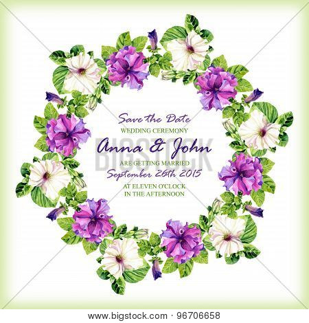 Wedding Invitation Design Template With Watercolor Floral Circular Fram