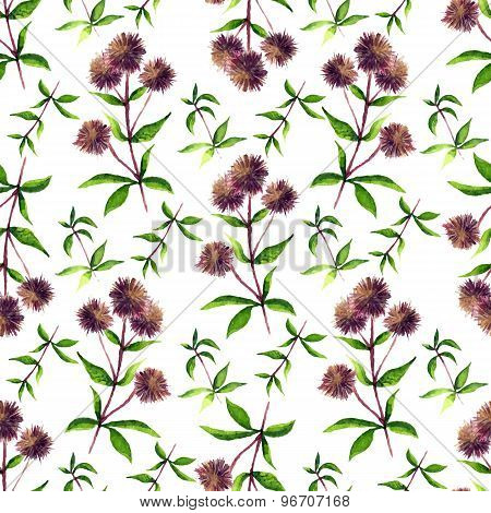 Seamless Vector Pattern With Colorful Watercolor Floral Elements
