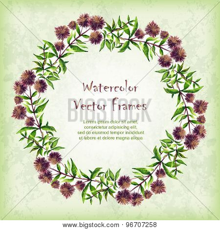 Vector Round Frame With Watercolor  Floral Elements