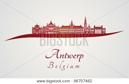 Antwerp Skyline In Red