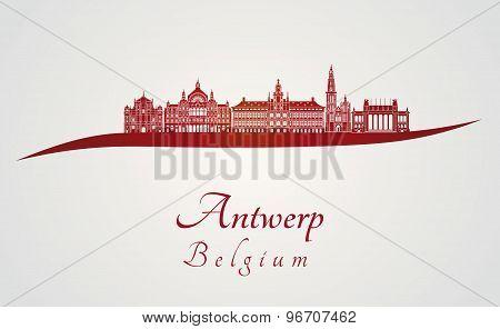 Antwerp Skyline In Red