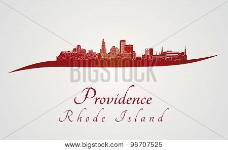 Providence Skyline In Red