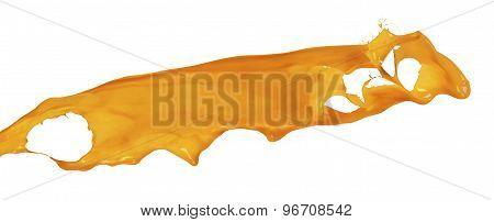 Splash Of Orange Paint Isolated On White Background