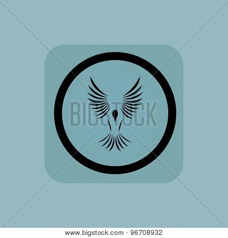 Pale blue flying bird sign