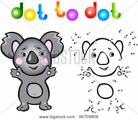 Funny Cartoon Koala Dot To Dot