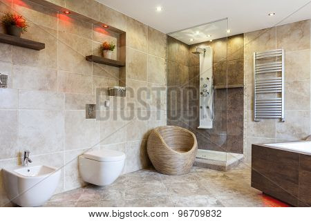 Luxury Bathroom With Beige Tiles