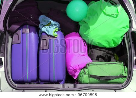 Luggage And Suitcases When Leaving For Family Summer Holidays