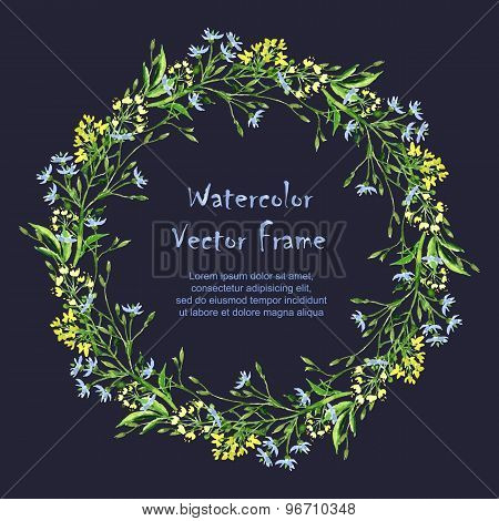 Vector Round Frame With Watercolor  Herbs On Dark Background