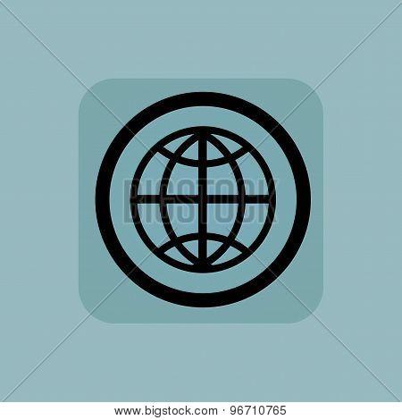 Pale blue globe sign